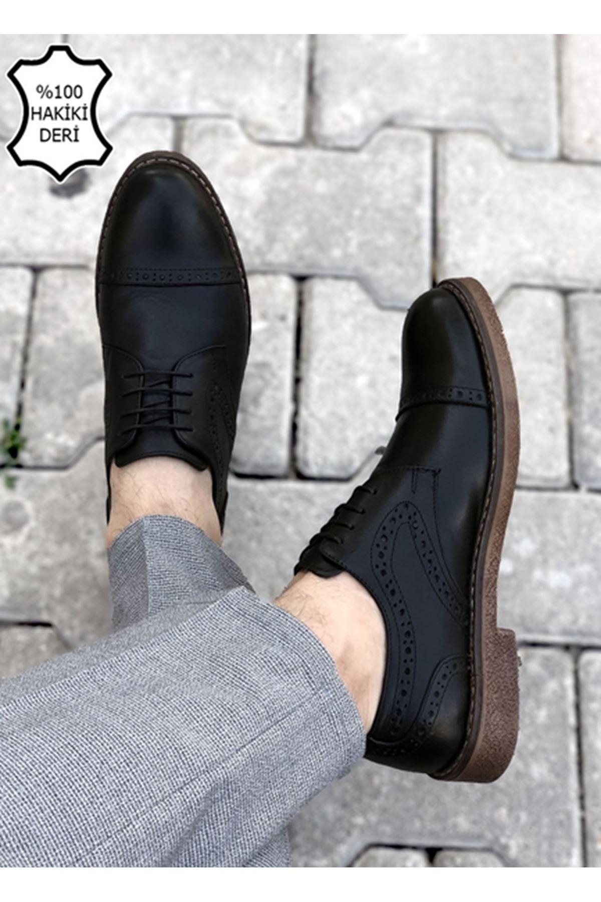 Boy Uzatan Siyah Hakiki Deri Desenli Erkek Klasik Ayakkabı