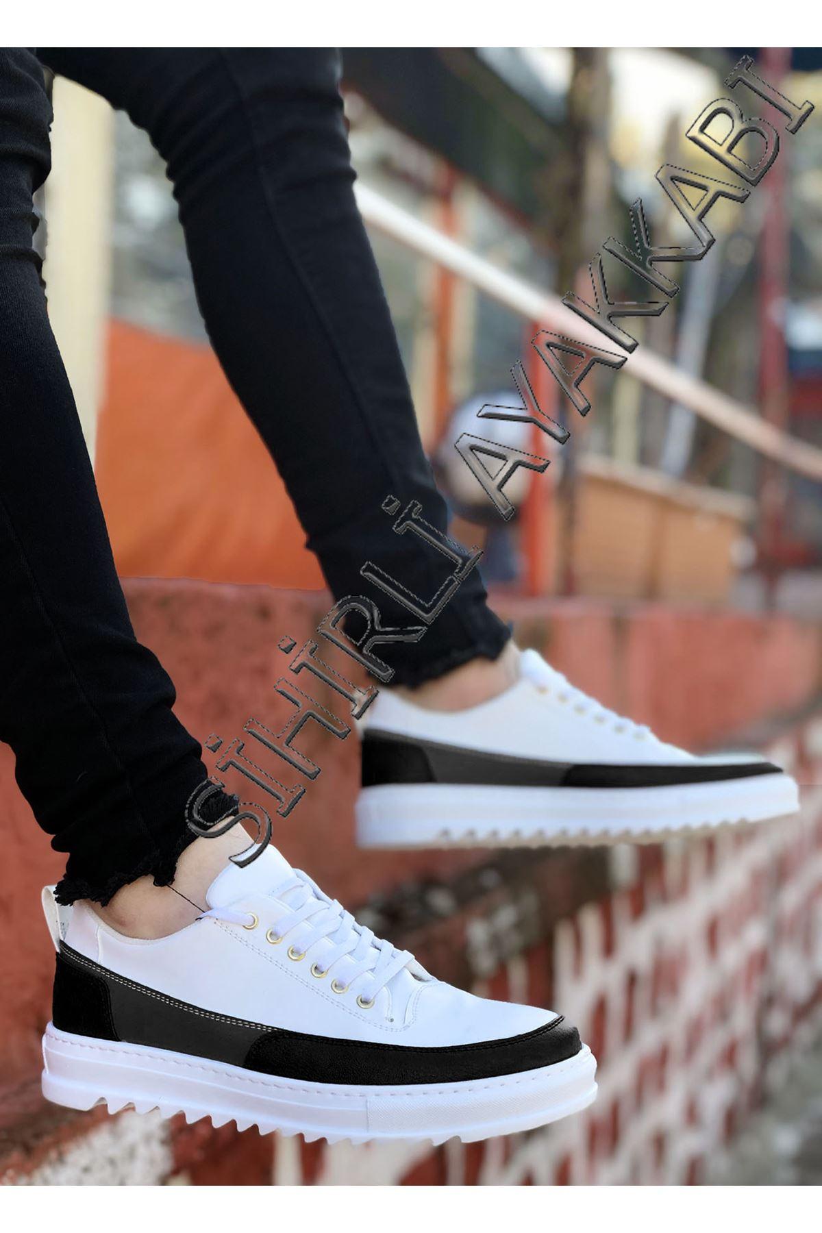 Boy Uzatan Siyah Beyaz Tırtıklı Taban Erkek Spor Ayakkabı