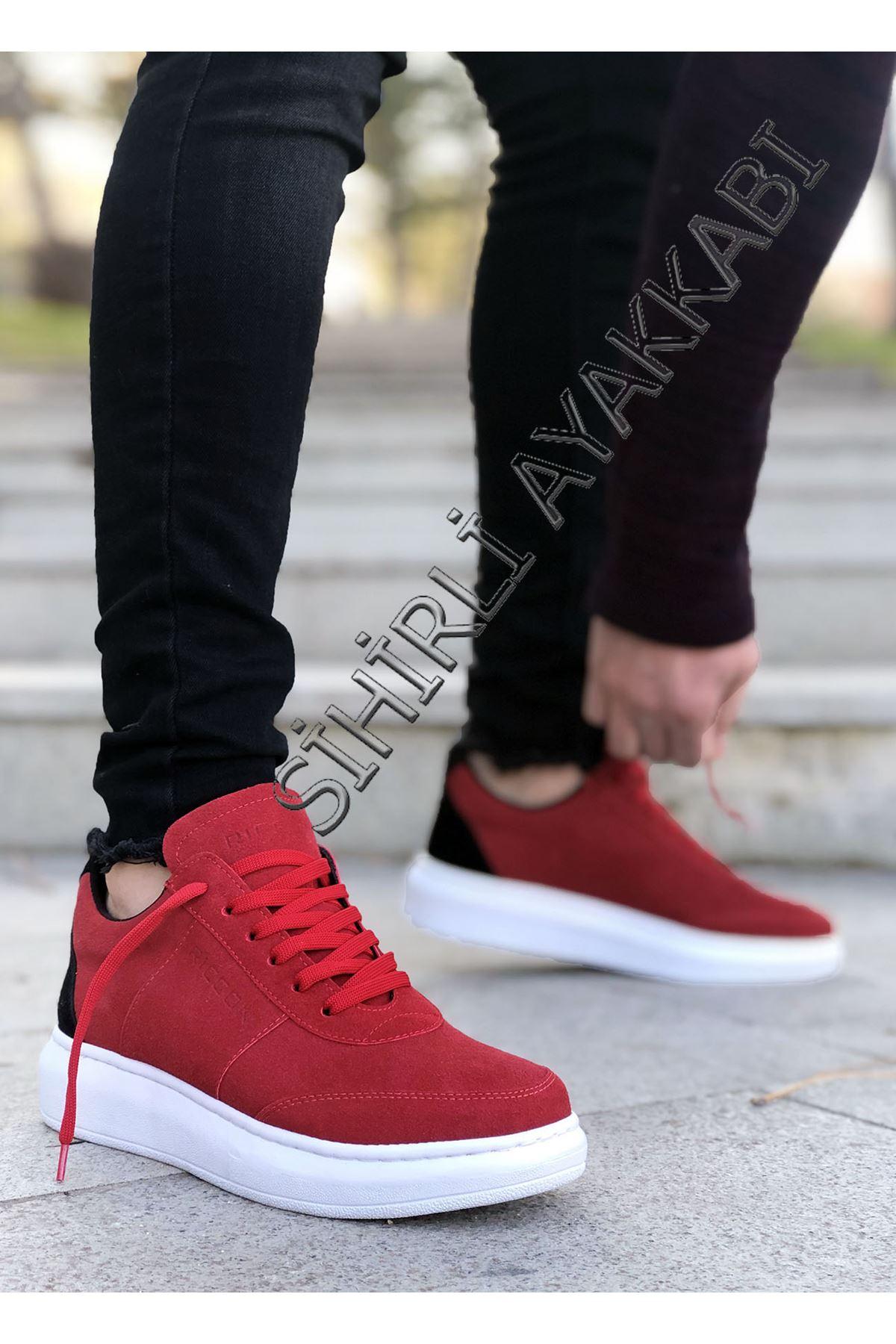 Boy Uzatan Kırmızı Süet Yüksek Taban Erkek Spor Ayakkabı Ricc
