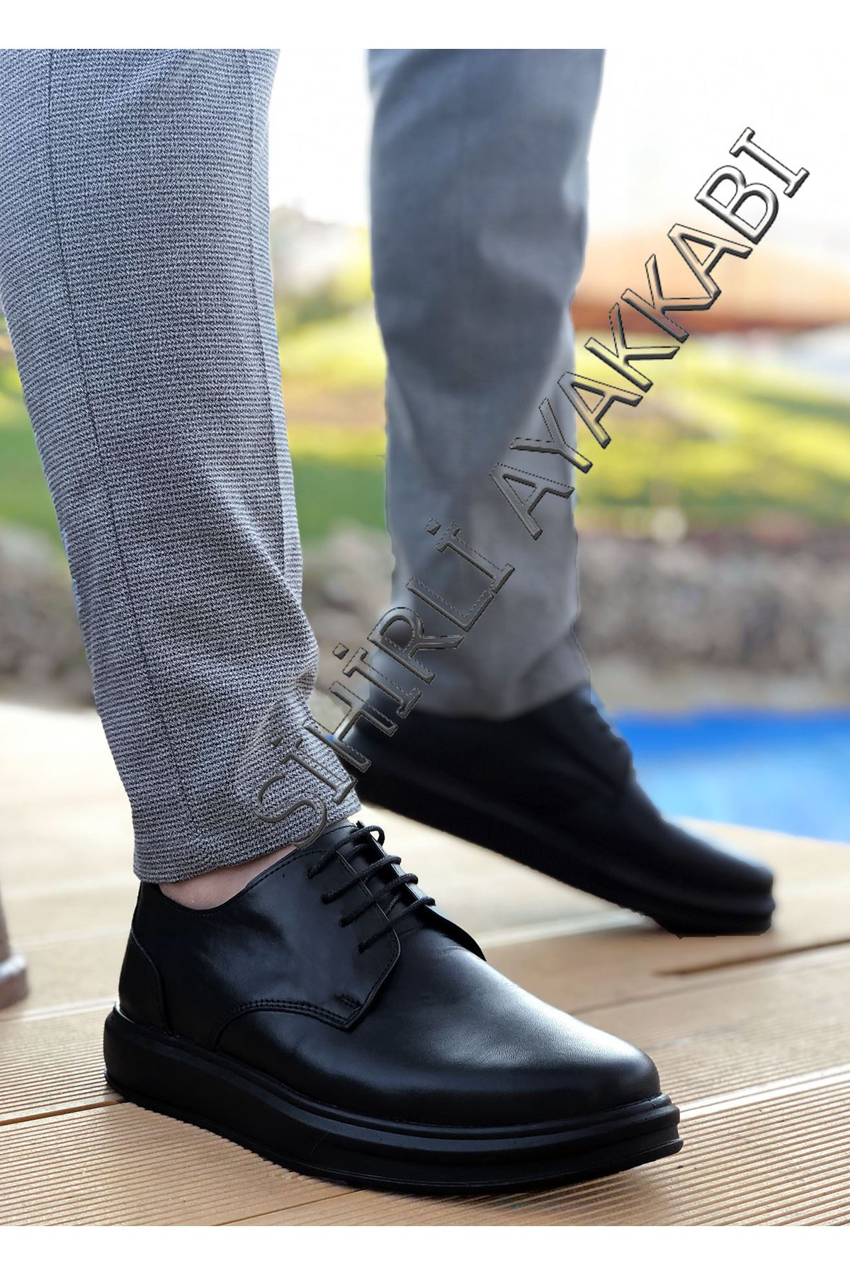 Boy Uzatan Hakiki Deri Siyah Bağcıklı Kalın Taban Erkek Klasik Ayakkabı