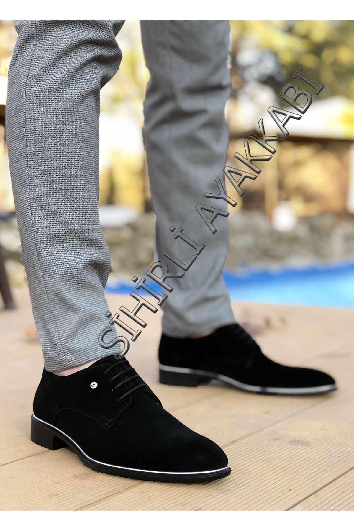 Boy Uzatan Siyah Süet Gümüş Detay Erkek Klasik Ayakkabı
