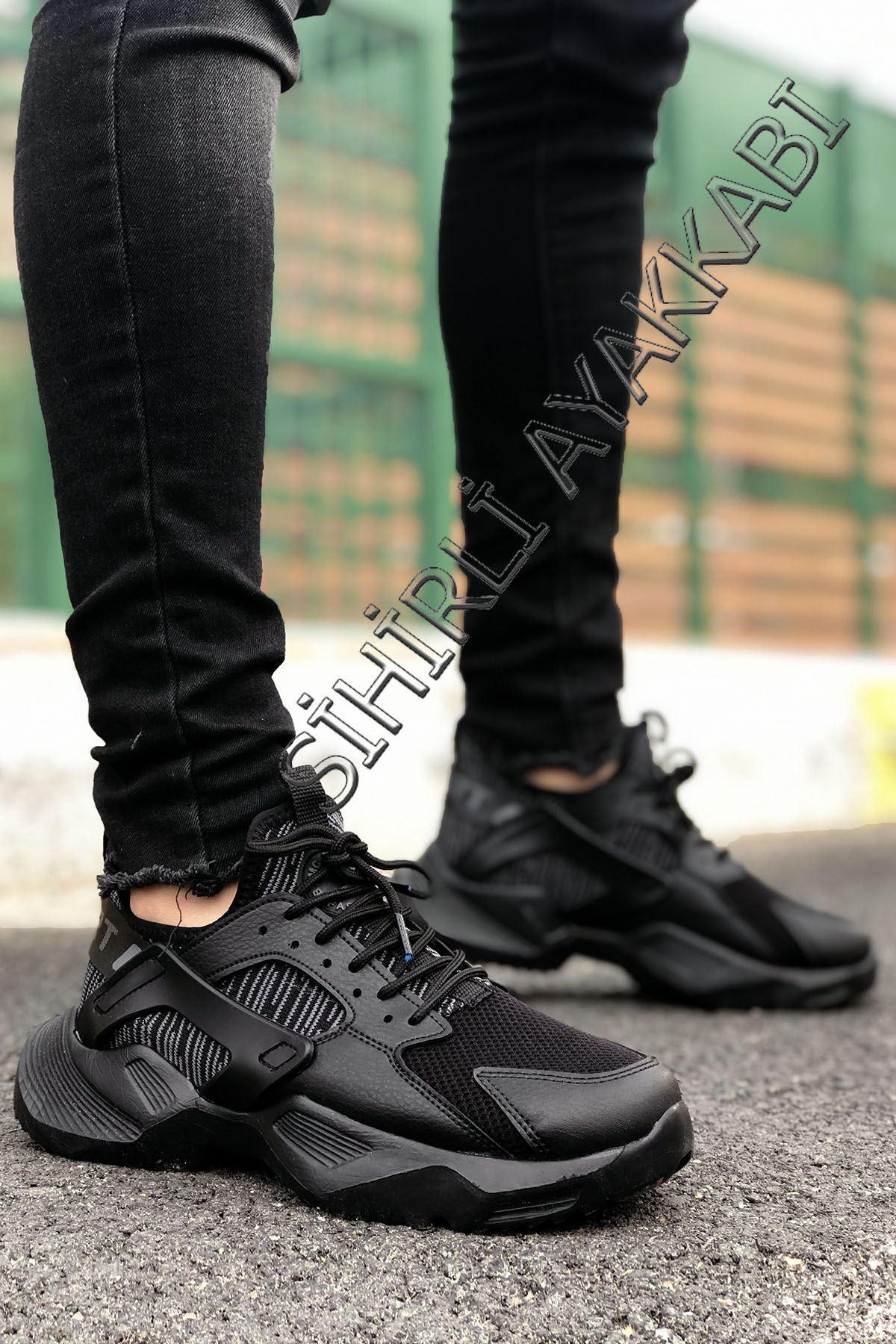 Boy Uzatan Siyah Mekanik Ultra Hafif Erkek Spor Ayakkabı