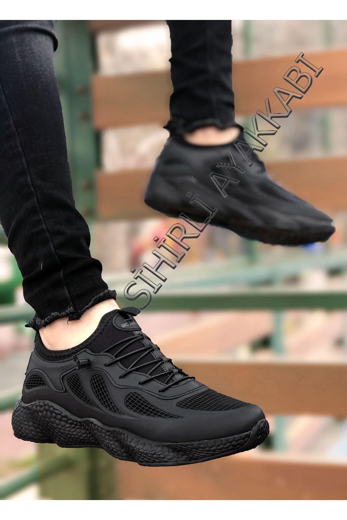 Boy Uzatan Siyah Grid Desen Fileli Erkek Spor Ayakkabı