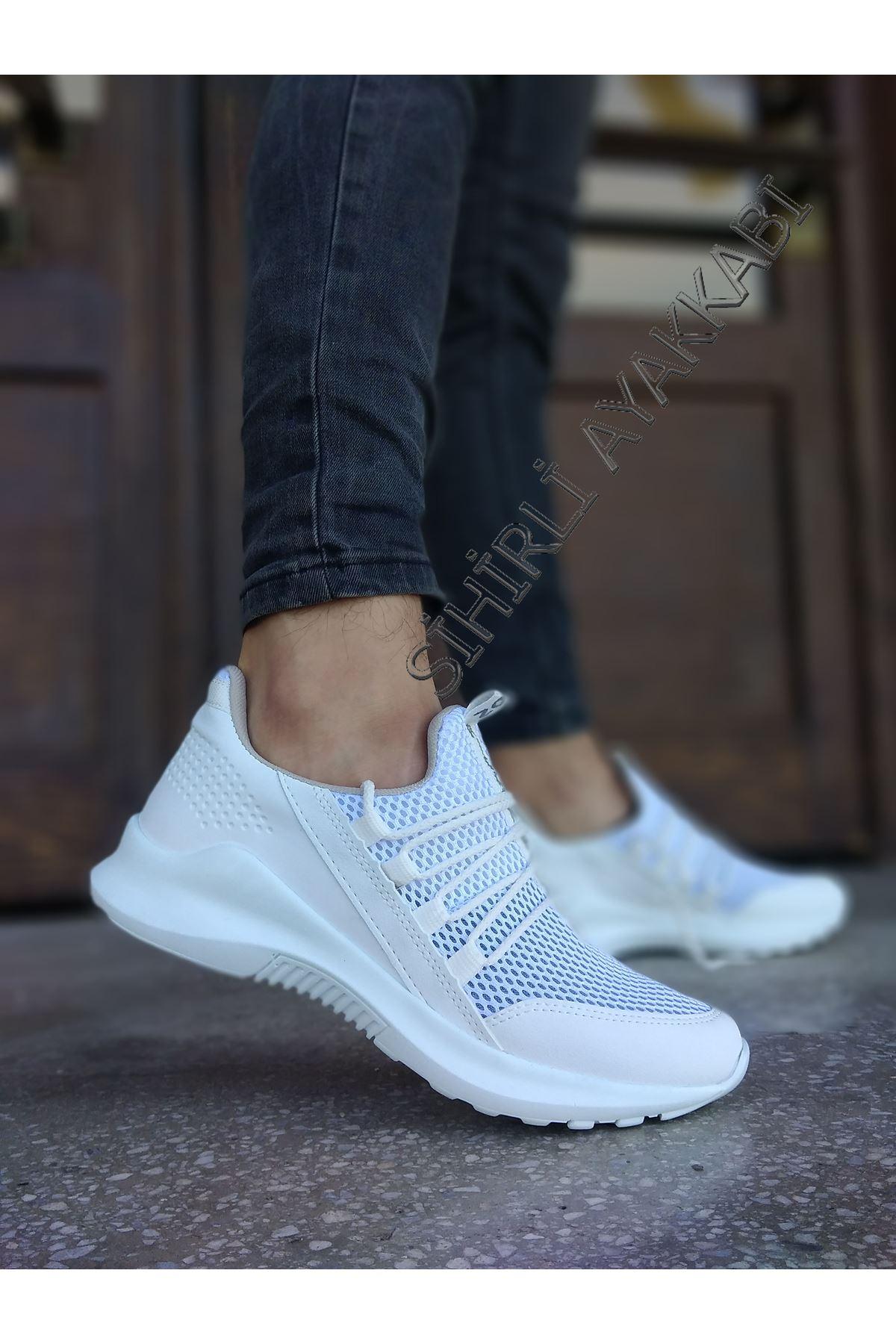 Boy Uzatan Gizli Topuk Beyaz Bağcık Detay Fileli Erkek Spor Ayakkabı