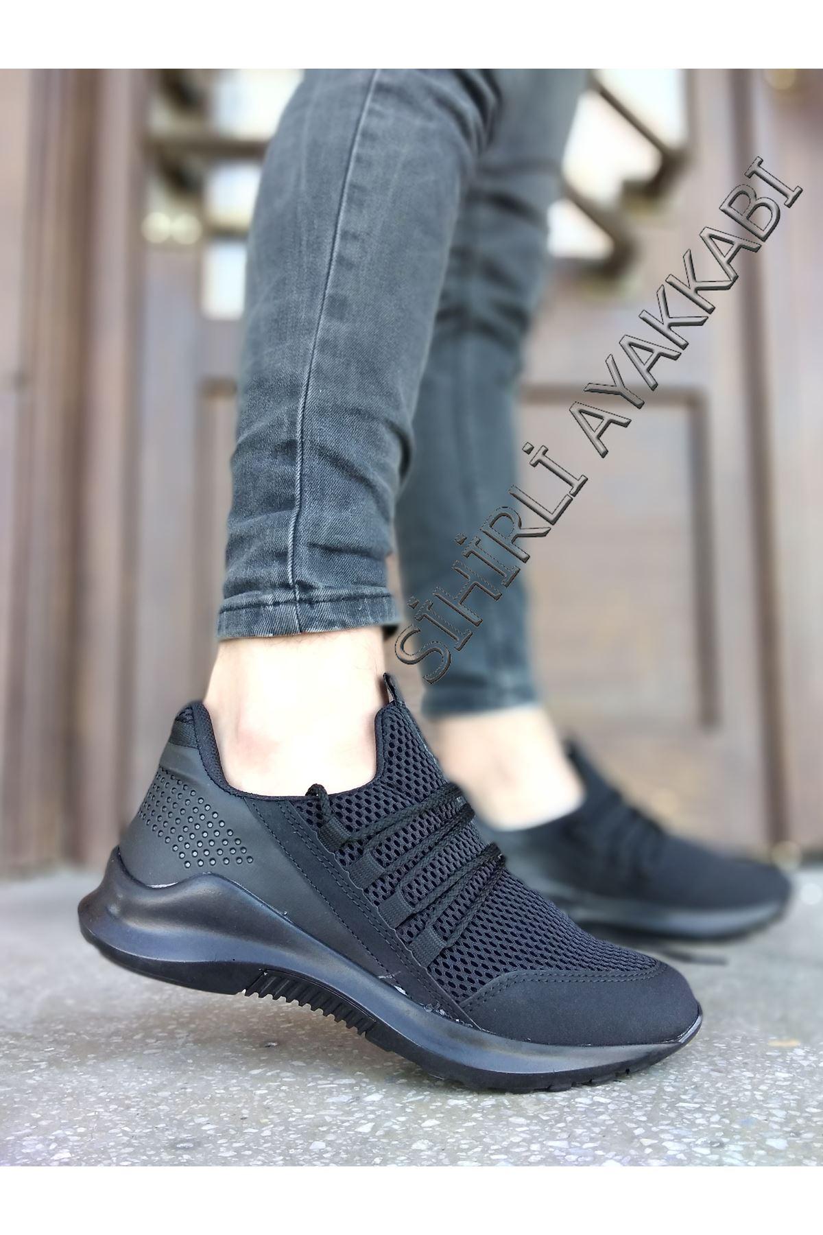 Boy Uzatan Gizli Topuk Siyah Bağcık Detay Fileli Erkek Spor Ayakkabı