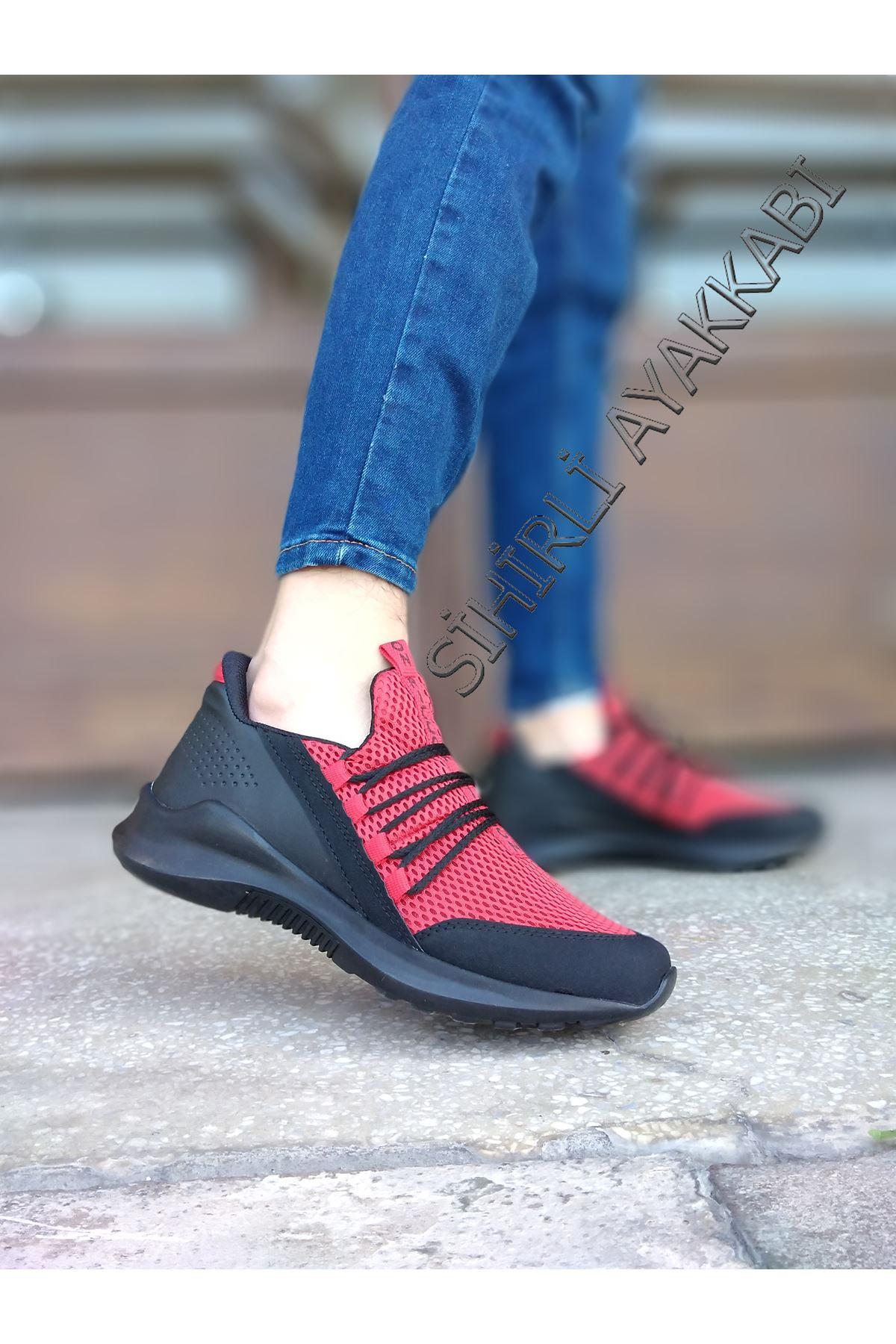 Boy Uzatan Gizli Topuk Kırmızı Bağcık Detay Fileli Erkek Spor Ayakkabı
