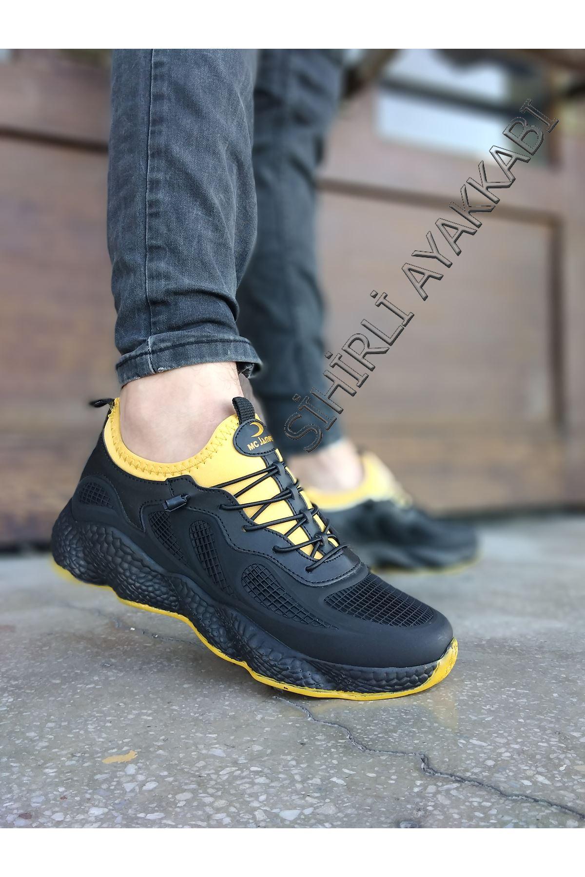 Boy Uzatan Gizli Topuk Siyah Sarı Grid Desen Fileli Erkek Spor Ayakkabı