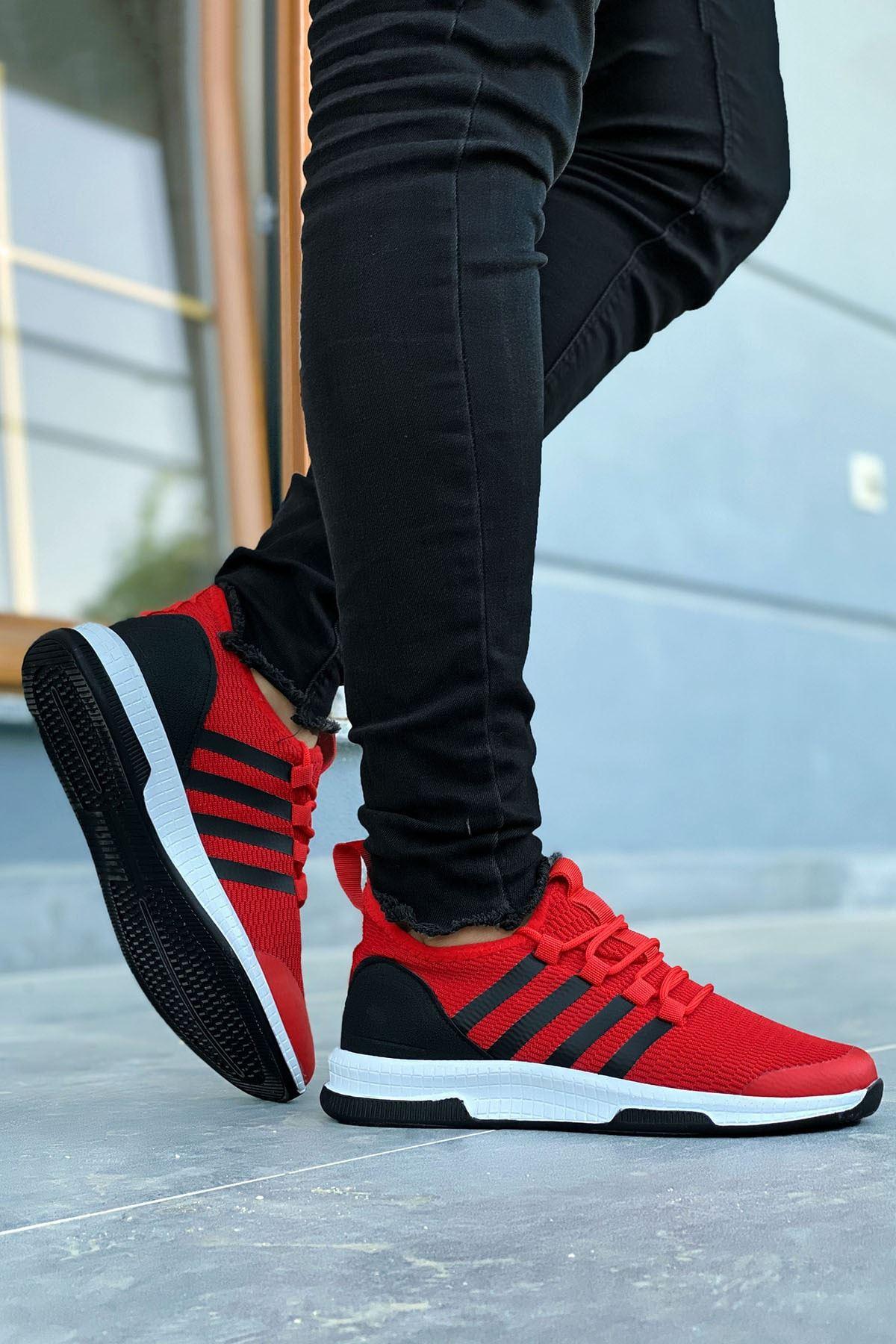 Boy Uzatan Gizli Topuk Kırmızı Çizgili Ultra Hafif Triko Erkek Spor Ayakkabı