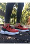 Boy Uzatan Gizli Topuk Kırmızı Nubuk Yüksek Taban Erkek Spor Ayakkabı